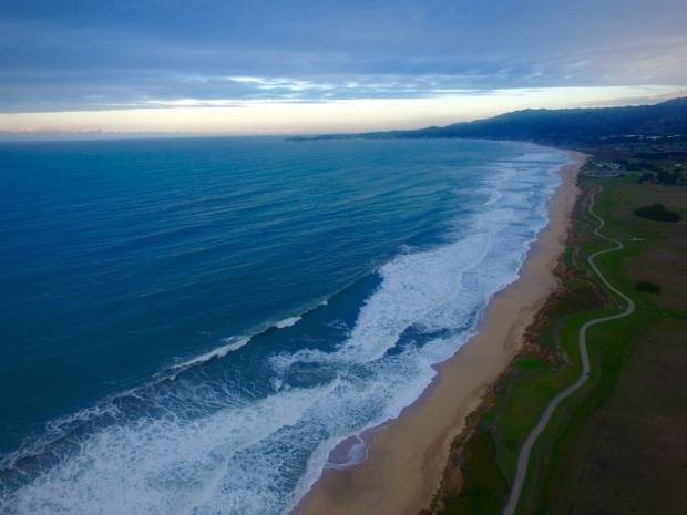 Aerial view of Half Moon Bay, CA
