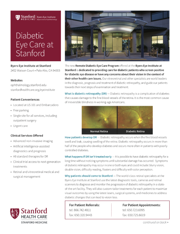 Remote Diabetic Eye Care at Stanford Patient Handout