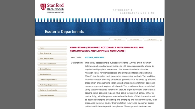 Stanford Molecular Pathology Laboratory designated as NCI-MATCH testing Laboratory