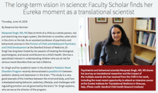 The long-term vision in science: Faculty Scholar finds her Eureka moment as a translational scientist