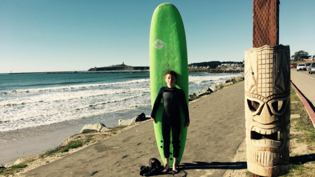 Half Moon Bay High School Student, Ethan Reicherter gets Stoked in the California surf