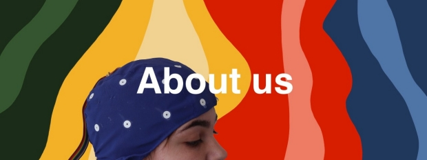 About Us: eeg cap on person with colorful waves backdrop