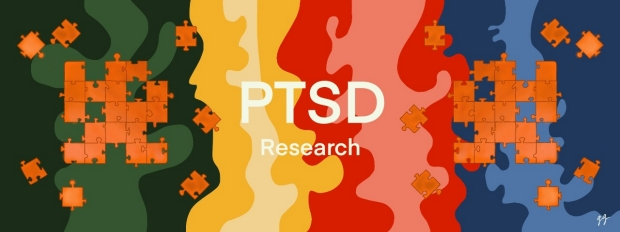 PTSD research: unfinished orange puzzle pieces in front of colorful background