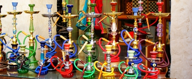 Image of several hookah pipes